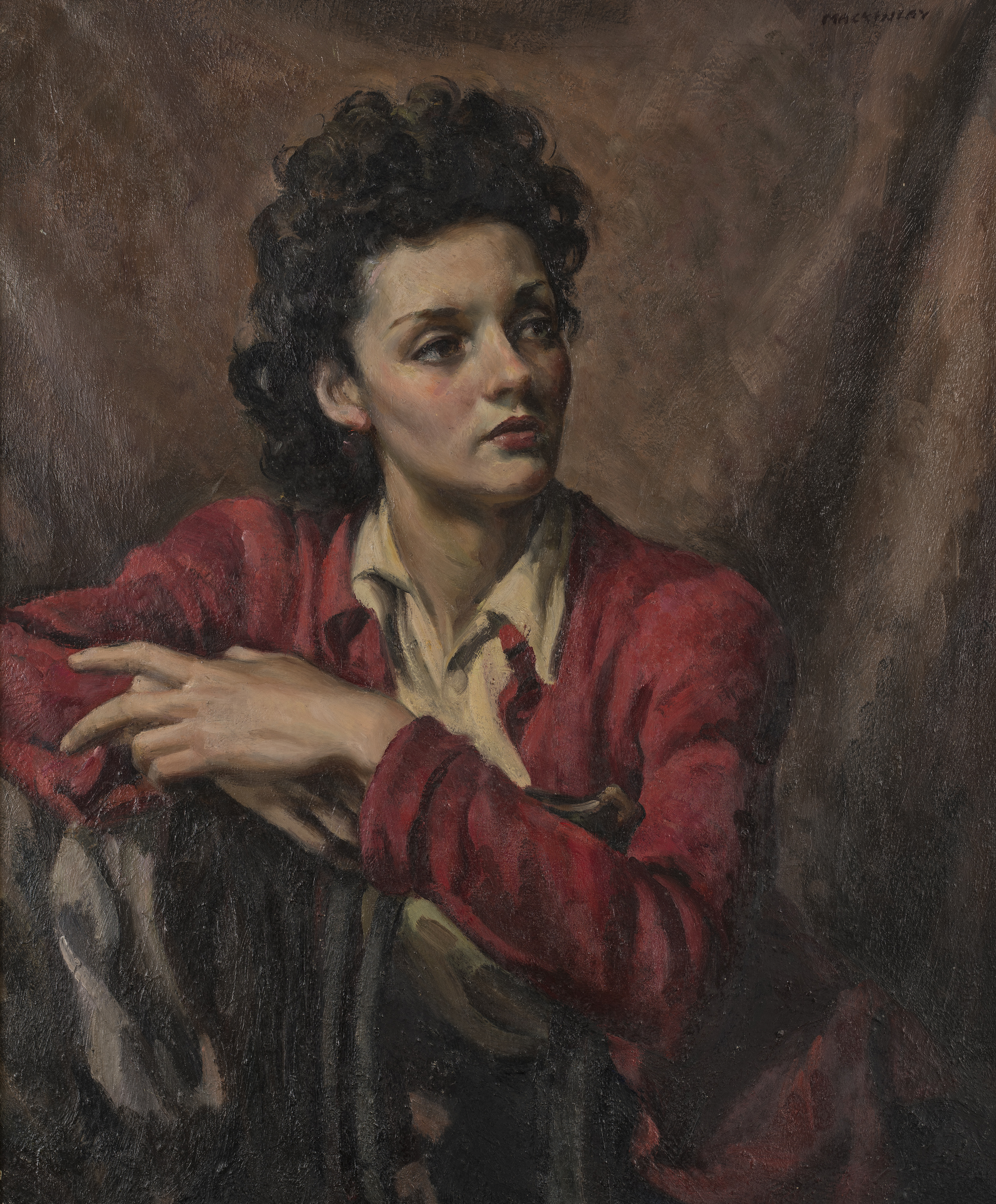 Lisa Goulding, date unknown, oil on canvas, 74.5 x 62.5cm, signed MACKINLAY upper rightcription...